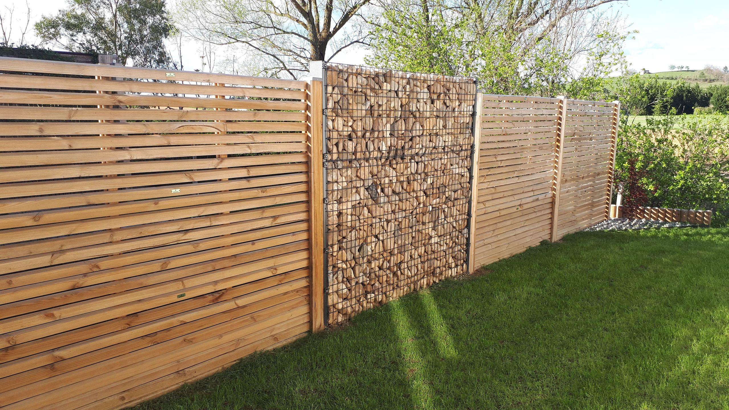 creation bollard panneaux brise vue bois gabions
