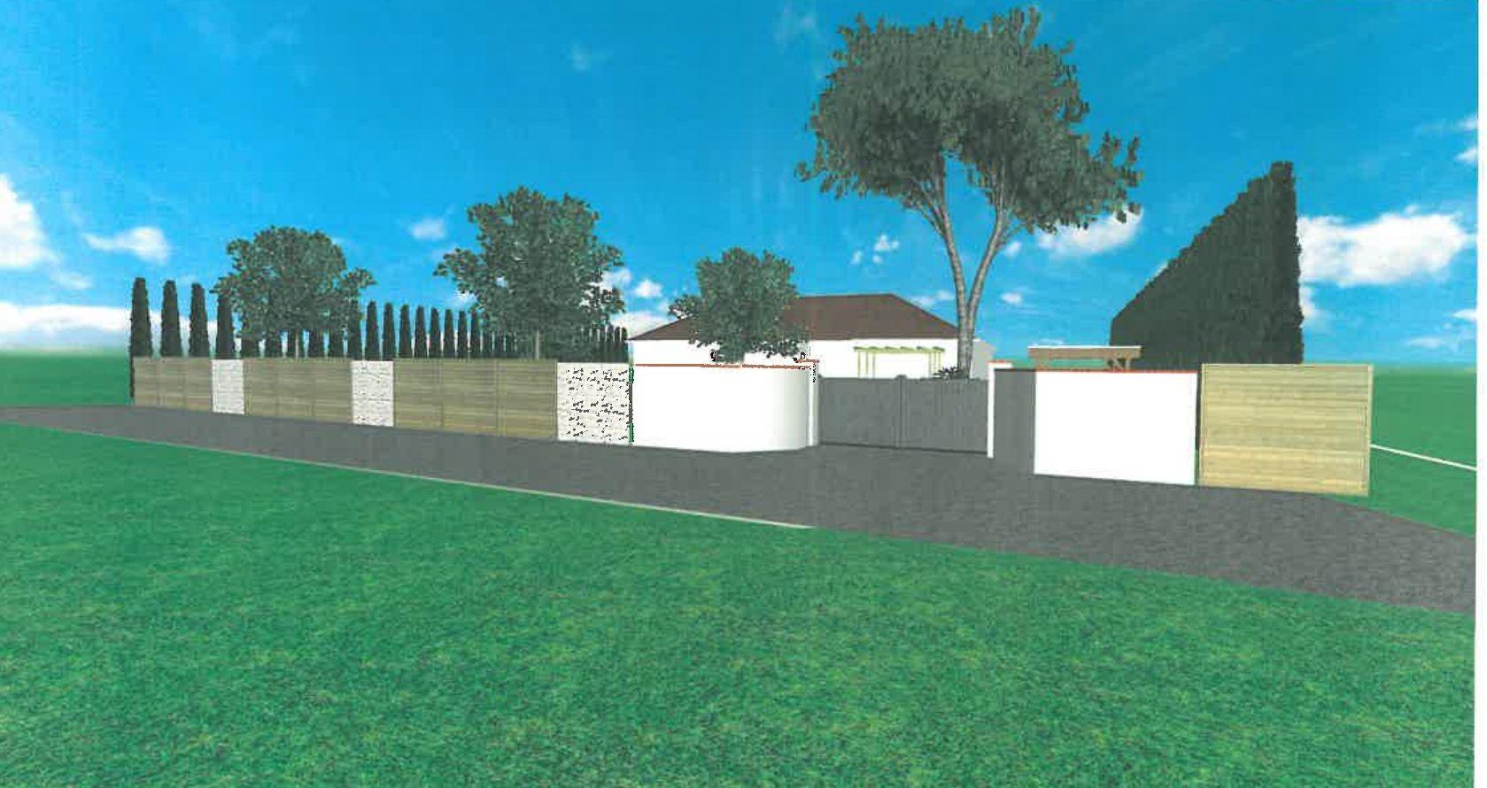 Projet 3D clôture bois et gabions avec portail